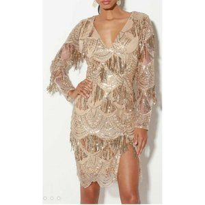 Lulus Awe-inspiring Gold Sequin embroidered dress